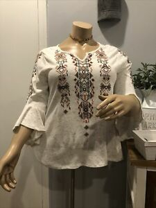 STYLE & CO Women's V-Neck Boho Shirt Plus sz 2X Embroidered In Front Bell Sleeve
