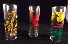 Vintage Federal Glass Rooster Giraffe Monkey Highball Glasses