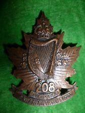208th Bn - Canadian Irish Cap Badge, WW1, CEF, Canada