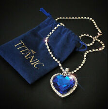 Titanic Heart of the Ocean Blue Love Crystal Pendant with Silver Necklace Gift