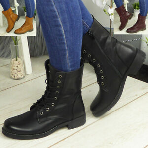 Ankle Boots Shoes Ladies Biker Zip Lace Up Army Combat Winter Casual Womens Size