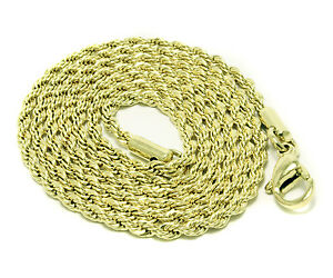 Yellow Rope Chain Stainless Steel Necklace Link Mens Womens 20In-30In 2.8mm-5mm