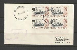 Tristan Da Cunha 1967 FDC Plain, 4d opt, Imprint block 4, cachet MV RSA, Cape To