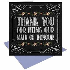 Vintage Chalkboard Thank you Maid of Honour wedding card shabby chic