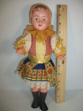 """Vintage Folk Doll Foreign 12"""" Tall All Plastic Jointed Unmarked Original Clothes"""