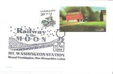 1995 MOUNT WASHINGTON STATION Cog Railway To The Moon Cancel Red Barn Postcard