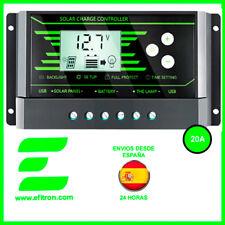 Regulador solar 20A, 12/24V con display, dos salidas USB. Caravanas y barcos.Z20