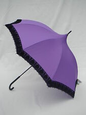 Shelta Parasol Rain Sun Umbrella - 1803 Purple and Black Wide Lace Pagoda