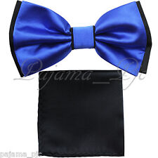 Wedding Black Blue Pre-tied Bow tie and Black Pocket Square Hankie Two Layers