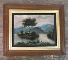Large Vintage Oil On Board Painting Of Rural Lake & Mountain Scene.