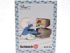SCHLEICH 40249-CHINA-PUFFO LAVORA AL COMPUTER-SCHLUMPFE-PUFFI-SMURFS-NUOVO