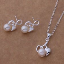 New Pearl Heart Necklace And Earrings Set 925 Sterling Silver FAST FREE SHIPPING