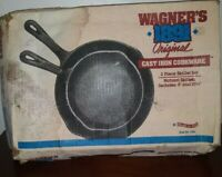 """Wagner's 1891, 10 1/2"""" Frying and 8"""" Pan Skillet Set Cast Iron """"New"""","""