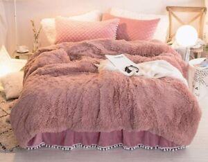 Luxury Fluffy Duvet Cover LIGHT CORAL Faux Fur Duvet Cover Ultra Soft KING SIZE