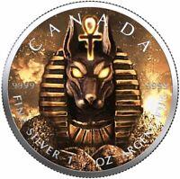 $5 Canada 1 Oz Silver Maple Leaf Anubis Egyptian God of Death .9999 Pre Sale