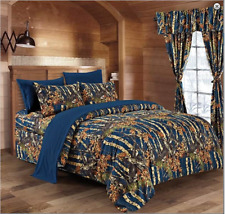 Navy Blue The Woods Woodland Camo Full-Queen Comforter-Free Ship