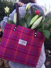 Pink Harris tweed handbag tartan bag womens gift for her Scottish gift bag purse