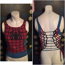 DIY Cut Up VTG Marvel Spider Man T Shirt S M Comic Book Uniform Costume Blue Red
