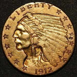 1912 U.S. Indian Head $2.50 Quarter Eagle Gold Coin