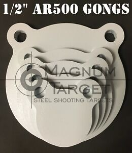 3,4,5,6&8in. AR500 Gong Shooting Targets-1/2in.Rifle Targets-5pc Steel Targets