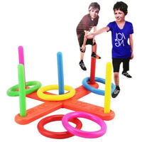 EG_ Hoop Ring Toss Plastic Quoits Garden Game Pool Toy Outdoor Kids Fun Set Sple