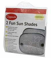 Clippasafe Foldable Fun Sun Screens Shades For Car Window (2 Pack) Black & White