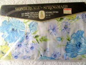 Vintage Springmaid Wondercale Full Fitted Sheet Floral Blue Daisy Morning Glory