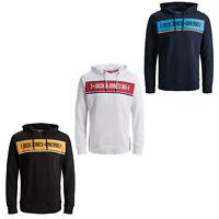 Jack & Jones Core Hoodie Mens Chest Logo Tape Stripe Sweater Jumper JCOFexi