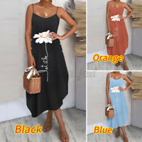 UK Womens Summer Beach Midi Dress Ladies Button Strappy Holiday Sun Dresses 8-26