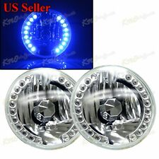 """FIT FORD / DODGE 7"""" H6014 H6015 H6024 ROUND 18 BLUE LED RIM REFLECTOR HEADLIGHT"""