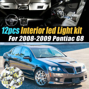 12pc Super White Car Interior LED Light Bulb Kit for 2008-2009 Pontiac G8