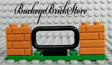 NEW Lego Dark Tan Brick Masonry Wall & Black Fence/Rail on 2x8 Green Plate LOT/2
