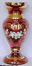 """""""Antique Jewels"""" Ruby Glass Vase- Czech Republic-FREE SHIPPING"""
