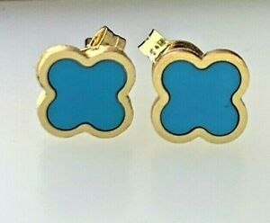 Four Leaf Clover Turquoise Stud Small Earrings 14k Solid Yellow Gold