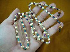 "E99-5) rainbow HEMATITE + faux pearl 32"" long Eyeglass leash holder necklace"