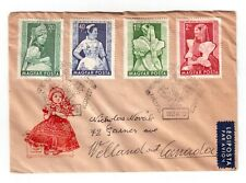 HUNGARY 1953 USED FIRST DAY COVER TO CANADA, PROVINCIAL COSTUMES !!