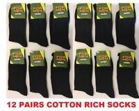 *12 PAIRS MEN'S BLACK SOCKS COTTON RICH FORMAL SOCKS EVERYDAY size UK 6-11 CHNKR