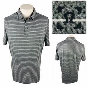 Lululemon Mens Large Polo Shirt Striped Gray Heathered Evolution? EUC