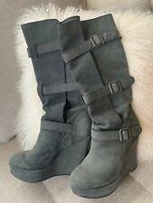 Joe's Suede Dark Grey Strappy High Wedges Boots (Women's US 8.5)