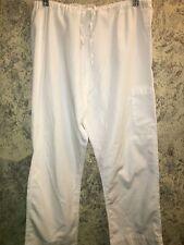 "Unisex white medical scrubs pants Halloween costume doctor nurse S 30-36"" waist"