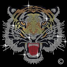 Tiger Head Diamante Transfer Iron On Hotfix Gem Motif Applique Patch