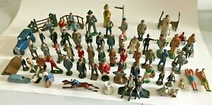 Antique Vintage Lot of 70 Barclay Style Lead Toy Train Station Figures, 1 Dupe