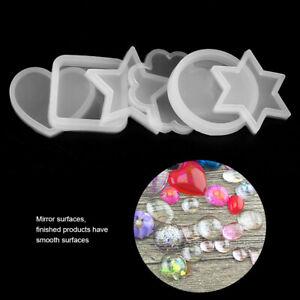 6PCS Circle Squares Heart Star Shape Silicone Mold Cake Mould Set DIY Decors