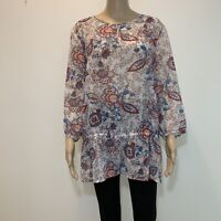 Chicos Top Blouse 3/4 Sleeves Shirt Size 3 Multicolor Semi Sheer #BT552