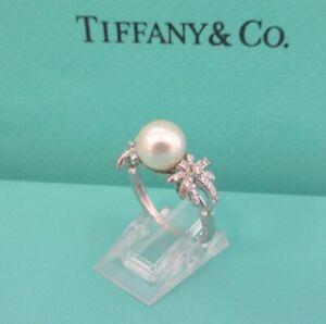 TIFFANY & Co. Platinum Diamond Fireworks Pearl Ring 6