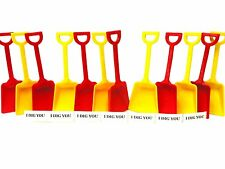 12 Small Toy Shovel 6 each Red Yellow & I Dig You Stickers Made in America*