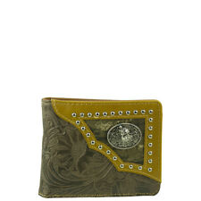 WEST WOLF BROWN WESTERN VEGAN TOOLED LEATHER WOLF EMBLEM MENS BIFOLD ID WALLET