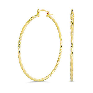 Twisted Rope Cable Large Hoop Earrings Gold Plated