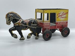 Vintage MARX Tin Litho Toytown Dairy Farm Windup Horse Carriage Antique Old Vtg