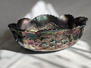 1911 Dugan Carnival Glass Amethyst Cherry Fruit Console Center Piece Bowl